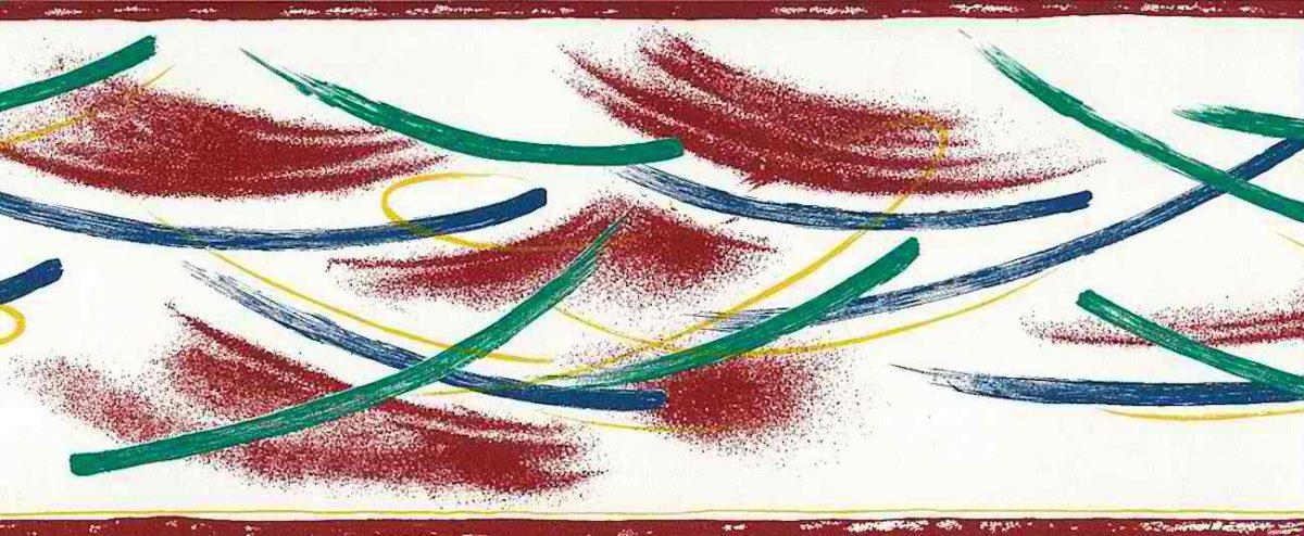 brushstrokes vintage wallpaper border, contemporary, blue green, red, alternative view