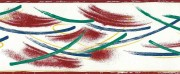 brushstrokes vintage wallpaper border, contemporary, blue green, red, alternative view