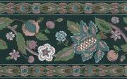 Paisley stylized flowers wallpaper border alternate