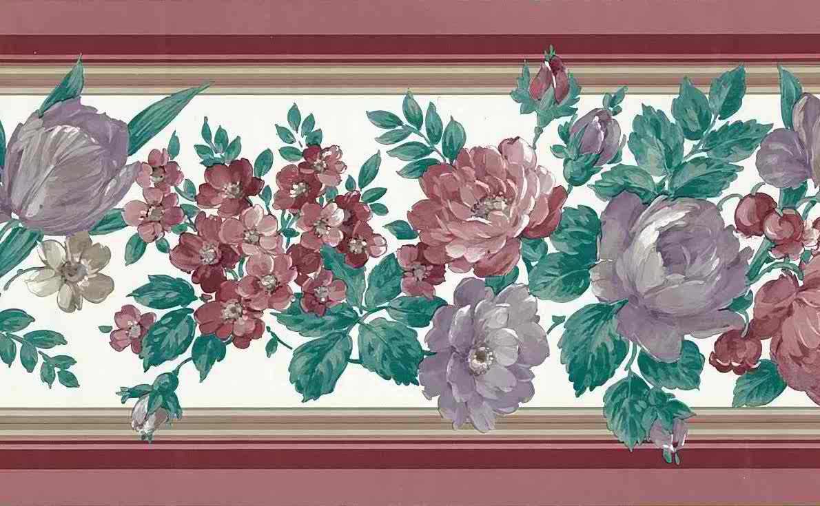 floral vintage wallpaper border, red, lavender, maroon, pink, rose, white, green, leaves