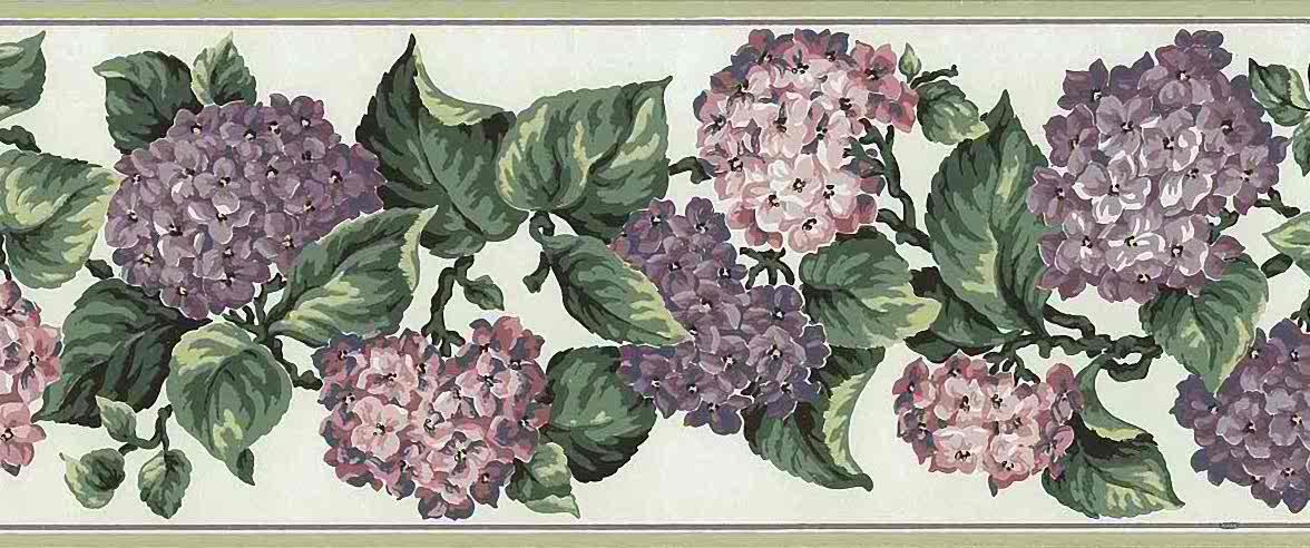 Purple lilac vintage wallpaper border, pink, lavender, hydrangea, green, faux finish