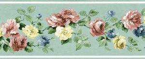 Mint Green Vintage Wallpapr Border, roses, floral, pink, blue, yellow