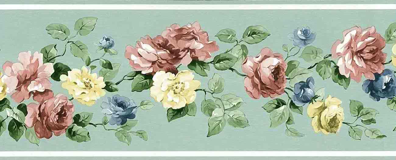 mint green vintage wallpaper border roses pink yellow blue