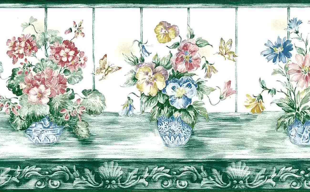 green floral vintage wallpaper border butterflies pink