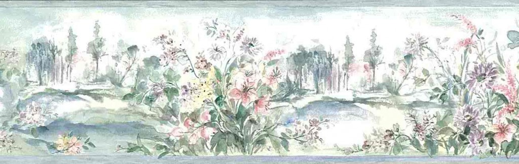 botanical garden vintage wallpaper border, delphiniums, hydrangea,lilies,pink, blue, purple