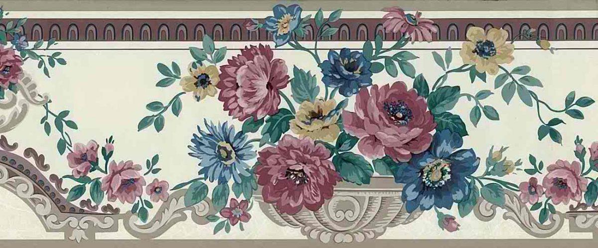 floral urns vintage wallpaper border, rose, taupe, purple, cream