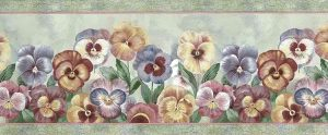 pansies wllpaper border,cottage, floral, blue, green, yellow, purple