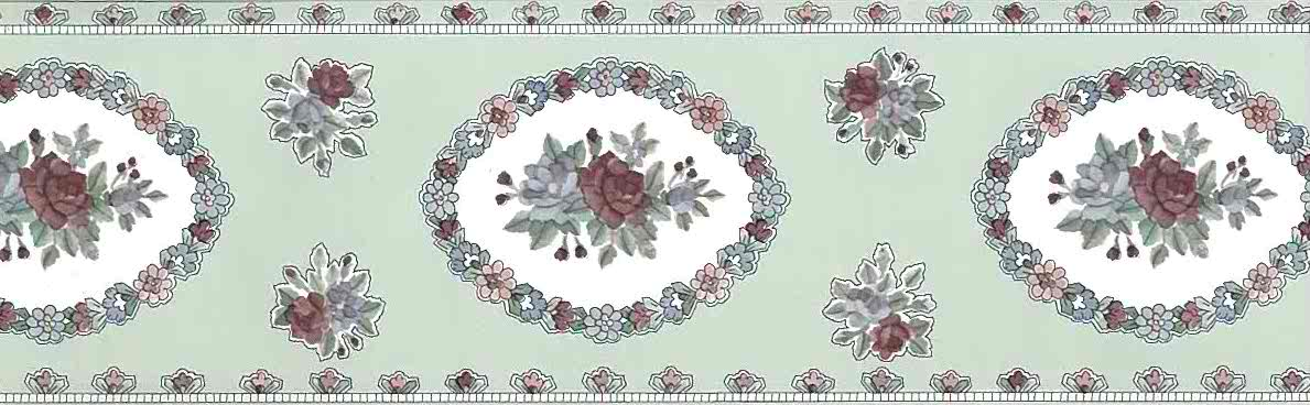 floral sampler vintage wallpaper border, roses, rose, blue, green, UK