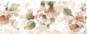 rose green vintage wallpaper border, pink, rose, green, off-white, watercolor, cottage