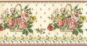 paisley peonies vintage wallpaper border, pink, red, white, cream, beige, gray, basket