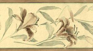 tiger lilies vintage wallpaper border, brown, green, tropical, crackled