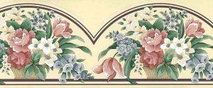 beige cutout vintage wallpaper border, rose, blue, green, white, urn,