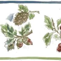 pine cone vintage wallpaper border, floral, berries, red, green, blue, off-white