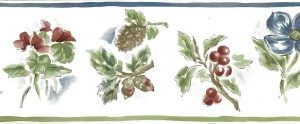 pine cones vintager wallpaper border, floral, berries, red, green, blue, off-white