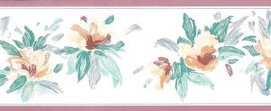 salmon green vintage wallpaper border,floral,gray,off white,pink,rose