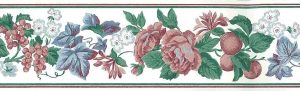Floral fruit vintage wallpaper border, peaches,r oses, green, blue, rose, off-white