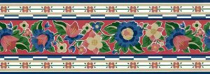 Waverly floral vintage wallpaper border, red, blue, green, yellow, pink