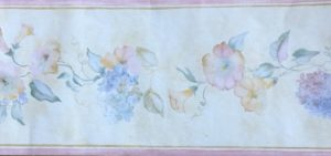 Hydrangeas morning glories vintage wallpaper border, blue,pink,yellow