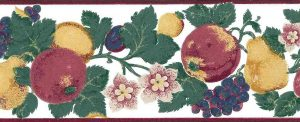 white fruit floral vintage wallpaper border, anemones, apples, grapes, pears, plums, red, blue, purple