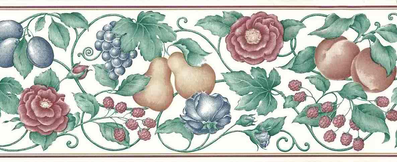raspberries vintage wallpaper border fruit floral - Raspberries Vintage Wallpaper Border Roses Fruit Red Green 768B1519