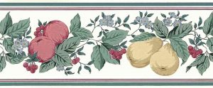 Pears peaches cherries vintage wallpaper border, red, rose yellow, textured