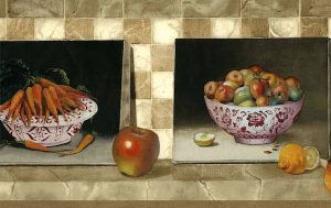 Apples carrots vintage wallpaper border,orange,red,green,beige,off-white,tile,faux finish,ceramic bowls,kitchen