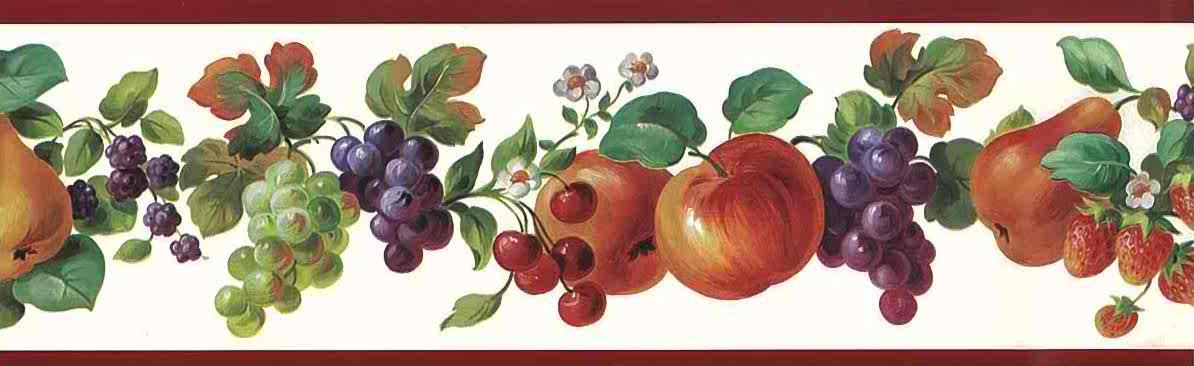 Fruit Medley Vintage Wallpaper Border Apples Peach Grapes ...