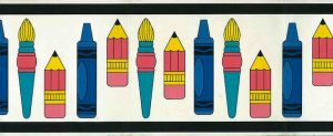 kids crayons vintage wallpaper border,brushes,children,pink,blue,yellow,black,white