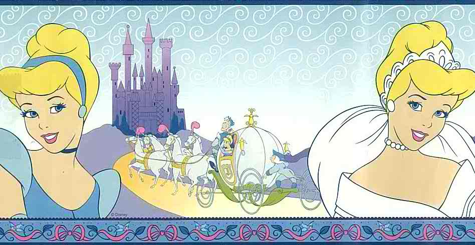 Cinderella Disney Wallpaper Border, blue, purpe, kids, girls, princess