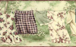 Wallpaper border laundry room clothesline, green, cream