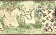 Clothesline Laundry Room Wallpaper Border