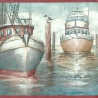 fishing vessels boats wallpaper border, rose, blue, gray, cream