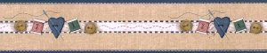sewing wallpaper border, needle, thread, buttons, fabric, denim, beige, blue, white, red