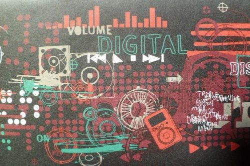 Digital Music Wallpaper Border in Black, Red & Green