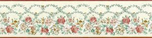 John Wilman Vintage Floral Wallpaper Border in Cream
