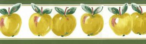 Yellow Apples Vintage Wallpaper Border on white with green & red accents