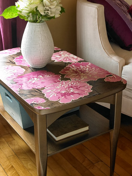 Table Top decorated with Floral Wallpaper