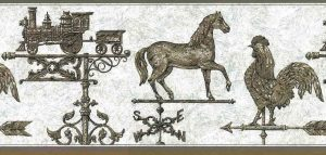 Vintage Weathervane Wallpaper Border in Brown, Gray & Black