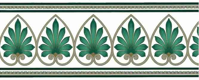 Green Feather Wallpaper Border with Gold Scrolls