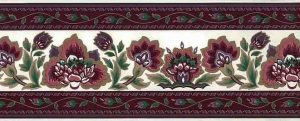 Vintage Waverly Magenta Wallpaper Border with Paisley design