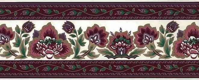 vintage wallpaper border Waverly, paisley, floral, magenta