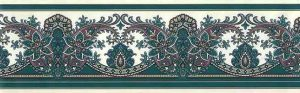 Green Paisley Wallpaper Border with Purple & Cream Scrolls