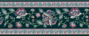Vintage Green Paisley Wallpaper Border with Rose & Slate Blue