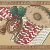 Musical Notes Swag Wallpaper Border in Taupe, Brown, Red, & Green