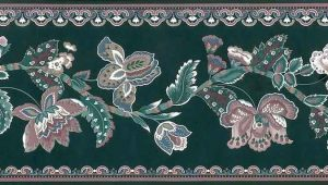 Green Paisley Vintage Wallpaper Border, Mauve, White