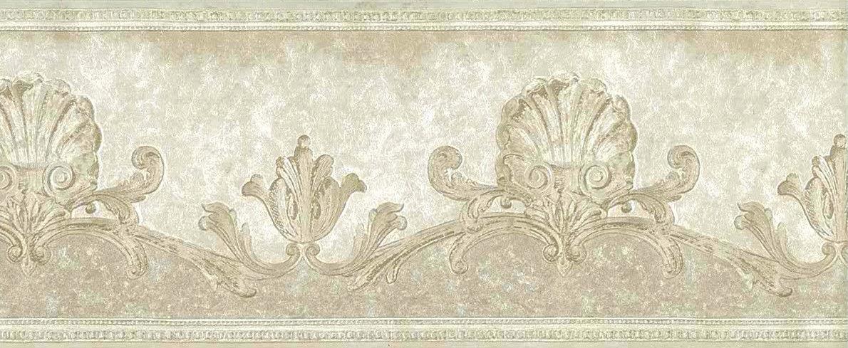 Ivory Shells Wallpaper Border Nautical Scroll Cream Pearl