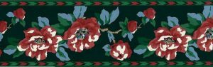 Vintage Waverly Southwest Floral Wallpaper Border in Red, Green, & Blue