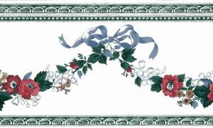 Waverly Floral Swag Vintage Wallpaper Border, Blue Ribbon, Red, White