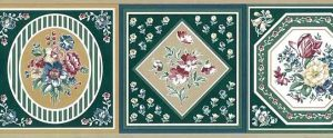 Green Sampler Wallpaper Border with framed flowers in pink & taupe