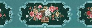 Teal Floral Wallpaper Border with Bouquets with Green Scroll Frames